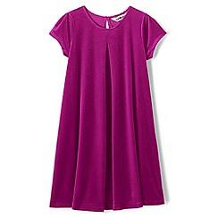 Lands' End - Pink girls' cap sleeve velveteen dress