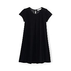 Lands' End - Black girls' cap sleeve velveteen dress