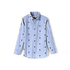 Lands' End - Blue boys' embroidered poplin shirt