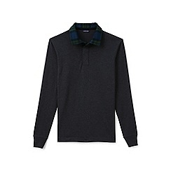 Lands' End - Grey flannel collar rugby shirt