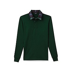 Lands' End - Green flannel collar rugby shirt