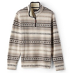 Lands' End - Beige fair isle half-zip pullover