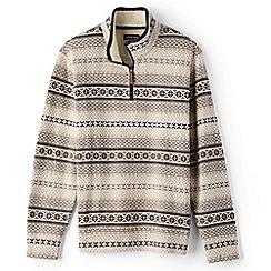 Lands' End - Beige fair isle half-zip pullover