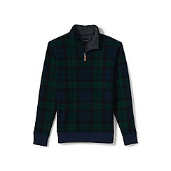 Lands' End - Green plaid half-zip pullover