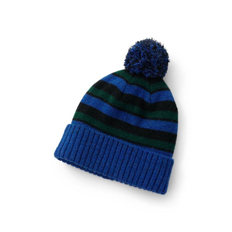 Lands' End - Blue Chunky Knit Bobble Hat