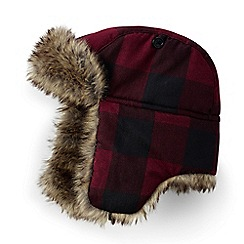 Lands' End - Red plaid trapper hat
