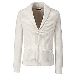 Lands' End - Cream wool/alpaca textured shawl collar jacket