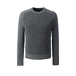 Lands' End - Grey herringbone lambswool sweater
