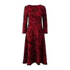 Lands' End - Red flocked print ponte jersey dress