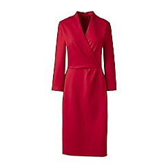 Lands' End - Red ponte jersey surplice dress