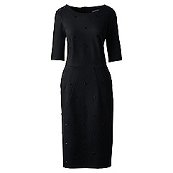 Lands' End - Black beaded trim ponte jersey dress