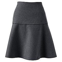 Lands' End - Grey wool blend flounce skirt