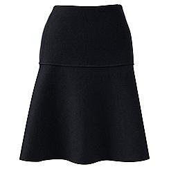Lands' End - Black wool blend flounce skirt