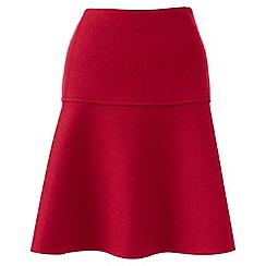 Lands' End - Red wool blend flounce skirt