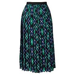 Lands' End - Green pleated plaid midi skirt