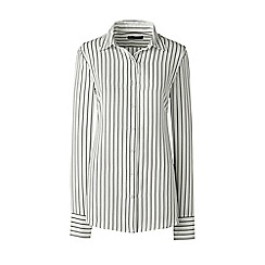 Lands' End - Cream long sleeve stripe crepe blouse