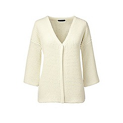 Lands' End - Cream lofty cotton textured v-neck cardigan