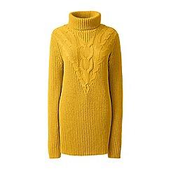 Lands' End - Yellow blend cotton chevron cable roll neck