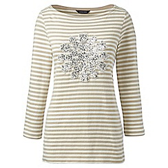 Lands' End - Cream plus sequin motif stripe top