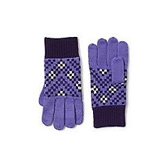 Lands' End - Purple fair isle knit gloves