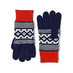 Lands' End - Cream fair isle knit gloves
