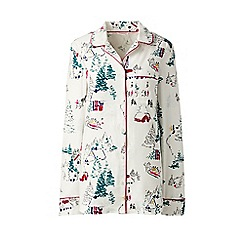 Lands' End - Cream patterned flannel pyjama shirt