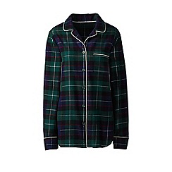 Lands' End - Green plus patterned flannel pyjama shirt