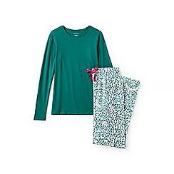 Lands' End - Green jersey/flannel pyjama set