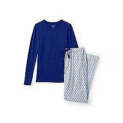 Lands' End - Blue jersey/flannel pyjama set