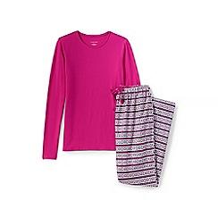 Lands' End - Pink jersey/flannel pyjama set