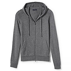 Lands' End - Grey merino/cotton sweater hoodie