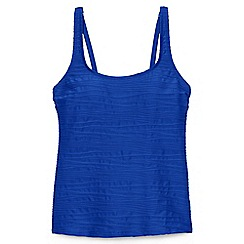 Lands' End - Blue regular textured scoop neck tankini top