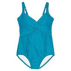 Lands' End - Blue regular textured sweetheart swimsuit