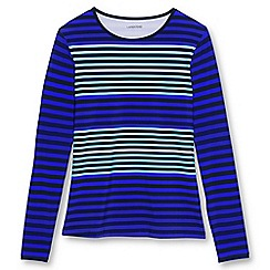 Lands' End - Blue regular rash guard stripe swim t-shirt