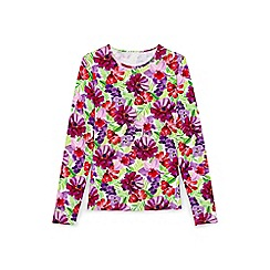 Lands' End - Pink Italian floral rash guard beach top