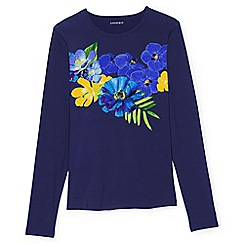 Lands' End - Blue regular placed Italian floral rash guard