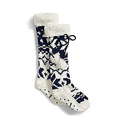 Lands' End - Blue sherpa lined slipper socks