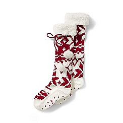 Lands' End - Red sherpa lined slipper socks