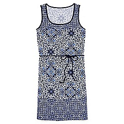 Lands' End - Blue regular belted medallion print swim cover-up