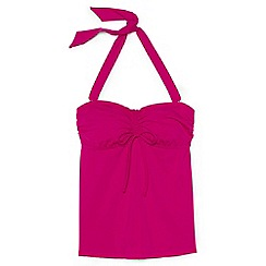 Lands' End - Pink regular beach living bandeau halter neck tankini top