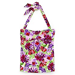 Lands' End - Pink regular beach living floral bandeau halter neck tankini top