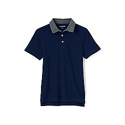 Lands' End - Boys' blue chambray collar pique polo
