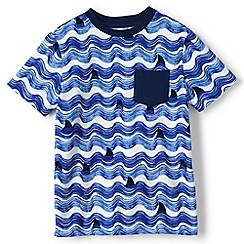 Lands' End - Boys' blue wavy stripe t-shirt