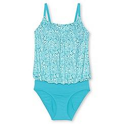 Lands' End - Blue regular beach living blouson swimsuit