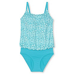 Lands' End - Blue plus beach living blouson swimsuit