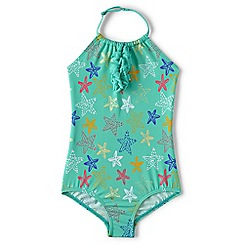 Lands' End - Girls' green beachcomber halter neck swimsuit