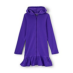 Lands' End - Girls' purple long sleeve hooded beach cover up