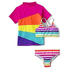Lands' End - Blue smart swim 3-piece rash guard set
