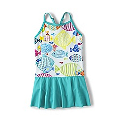 Lands' End - Girls' blue smart swim  skirted swimsuit