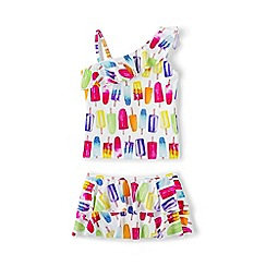 Lands' End - Girls' multicoloured one shoulder skirted tankini